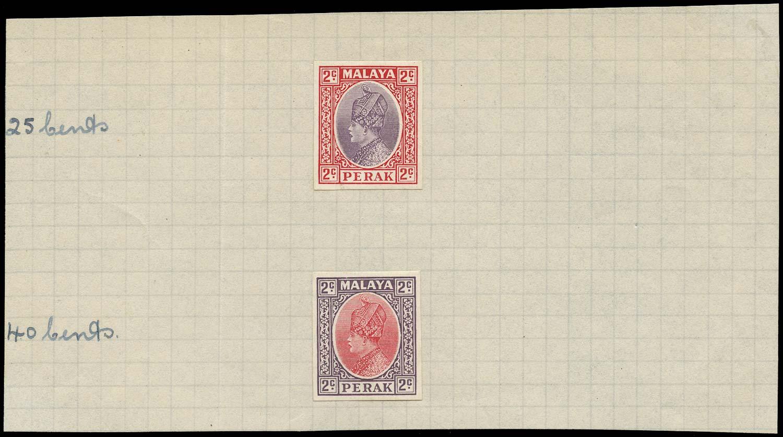 MALAYA - PERAK 1935  SG89 Proof 2c imperf colour trials