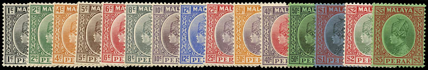 MALAYA - PERAK 1935  SG88/102 Mint unmounted set of 15 to $5