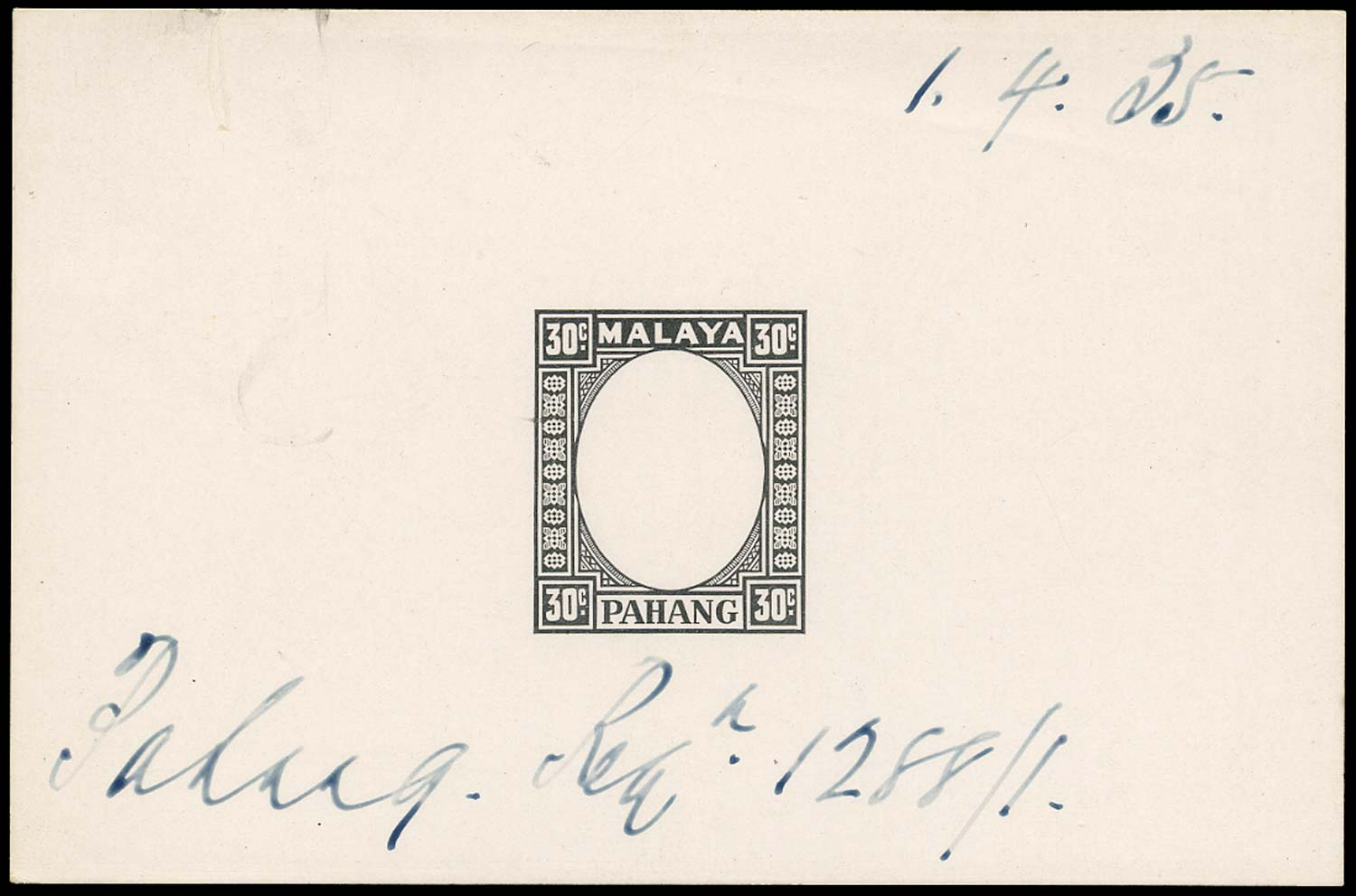MALAYA - PAHANG 1935  SG41 Proof of frame for 30c value