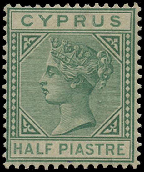 CYPRUS 1882  SG16 Mint ½pi EMERALD-GREEN die I watermark CA