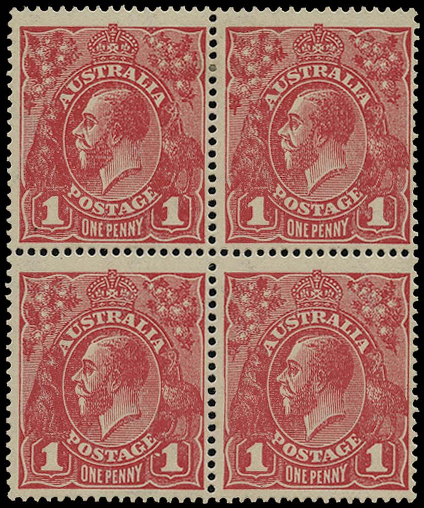 AUSTRALIA 1918  SG49c Mint 1d carmine-pink variety Dot before 1