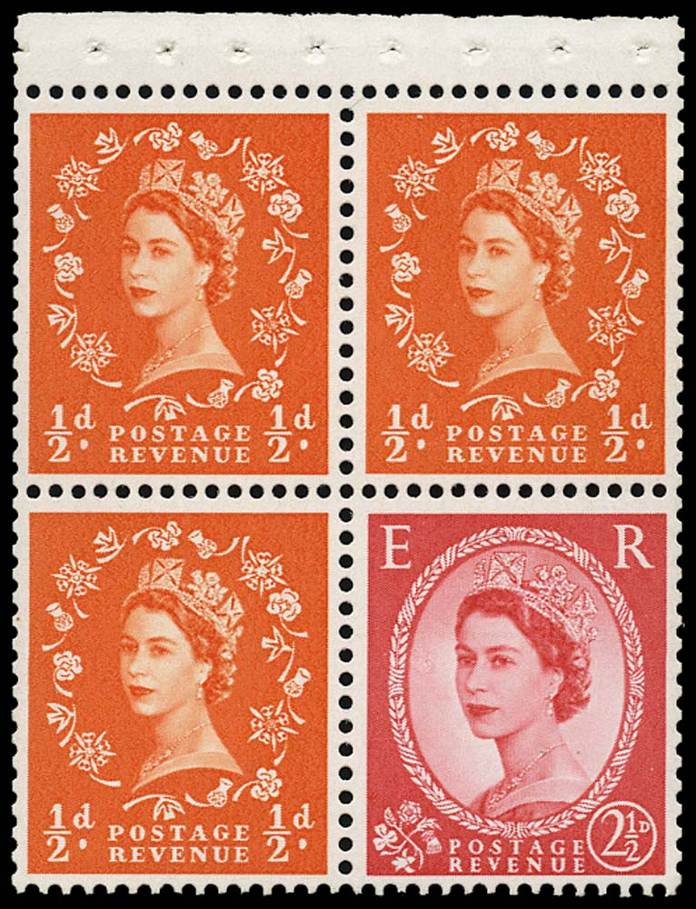 GB 1963  SG570mk Booklet pane screen damage variety on 2½d