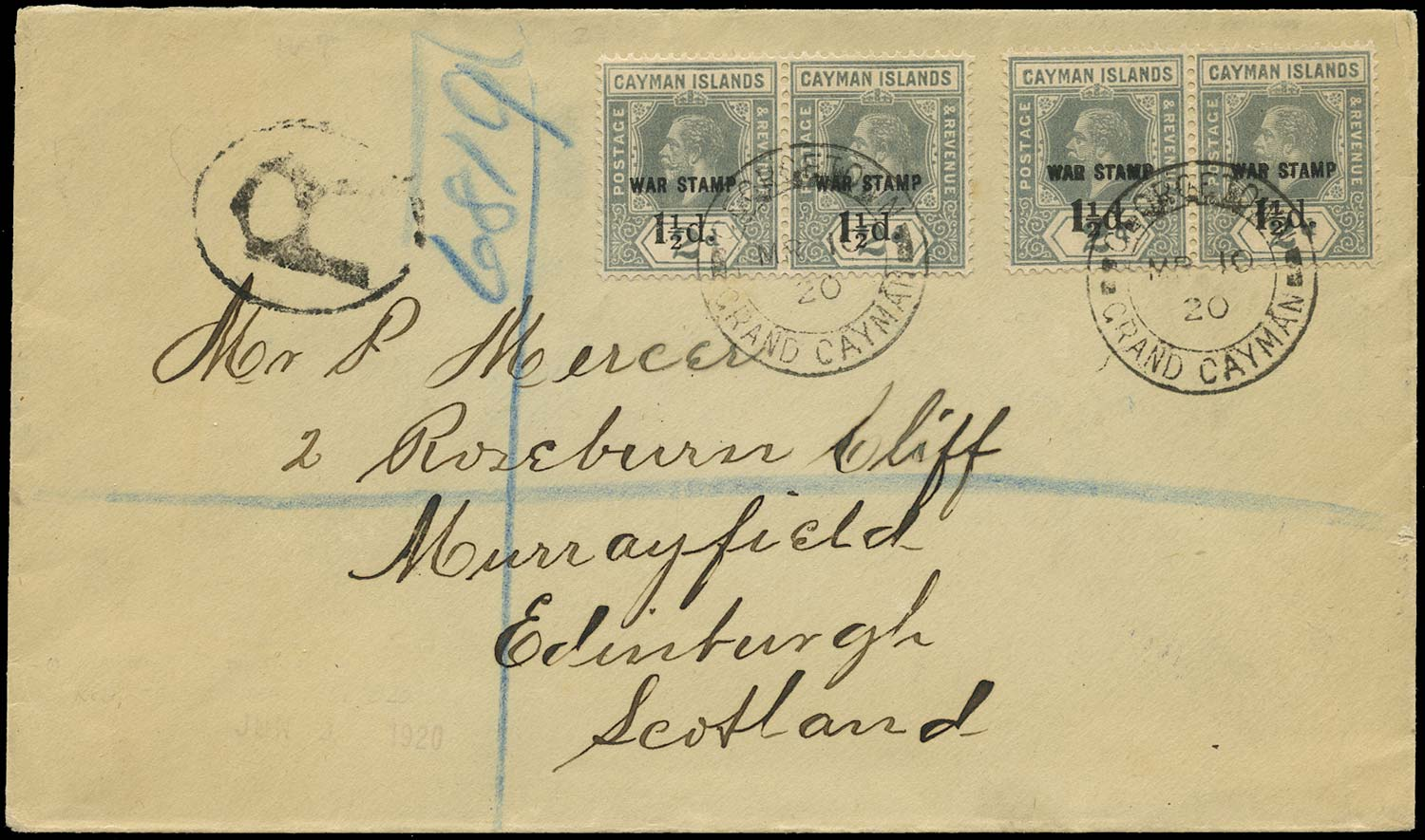 CAYMAN ISLANDS 1920  SG58 Cover registered with 1½d on 2d grey War Tax