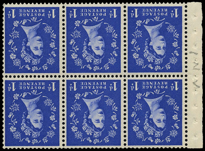GB 1954  SG516lWi Mint Inverted pane