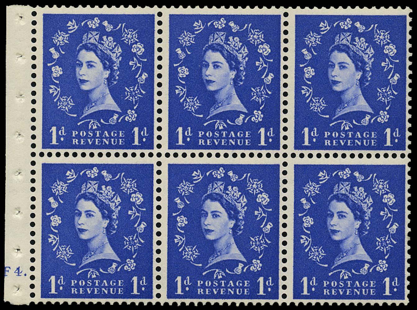 GB 1954  SG516l Booklet pane cylinder F4 dot
