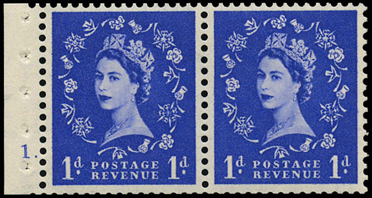GB 1953  SG516n Booklet pane cylinder 1 dot booklet pane of two