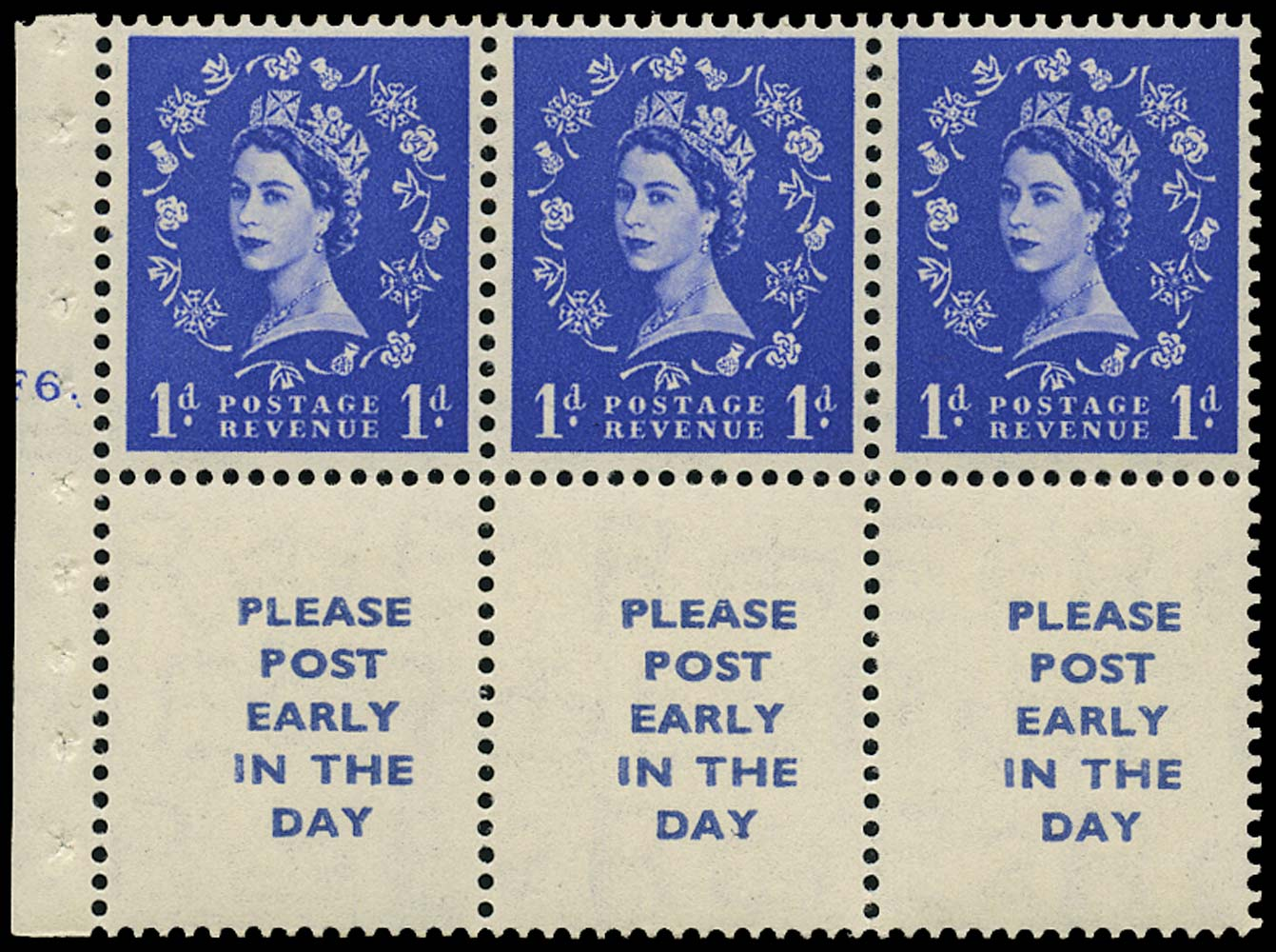 GB 1954  SG516la Booklet pane three labels