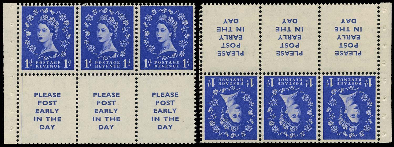 GB 1954  SG516la/lawi Booklet pane three labels