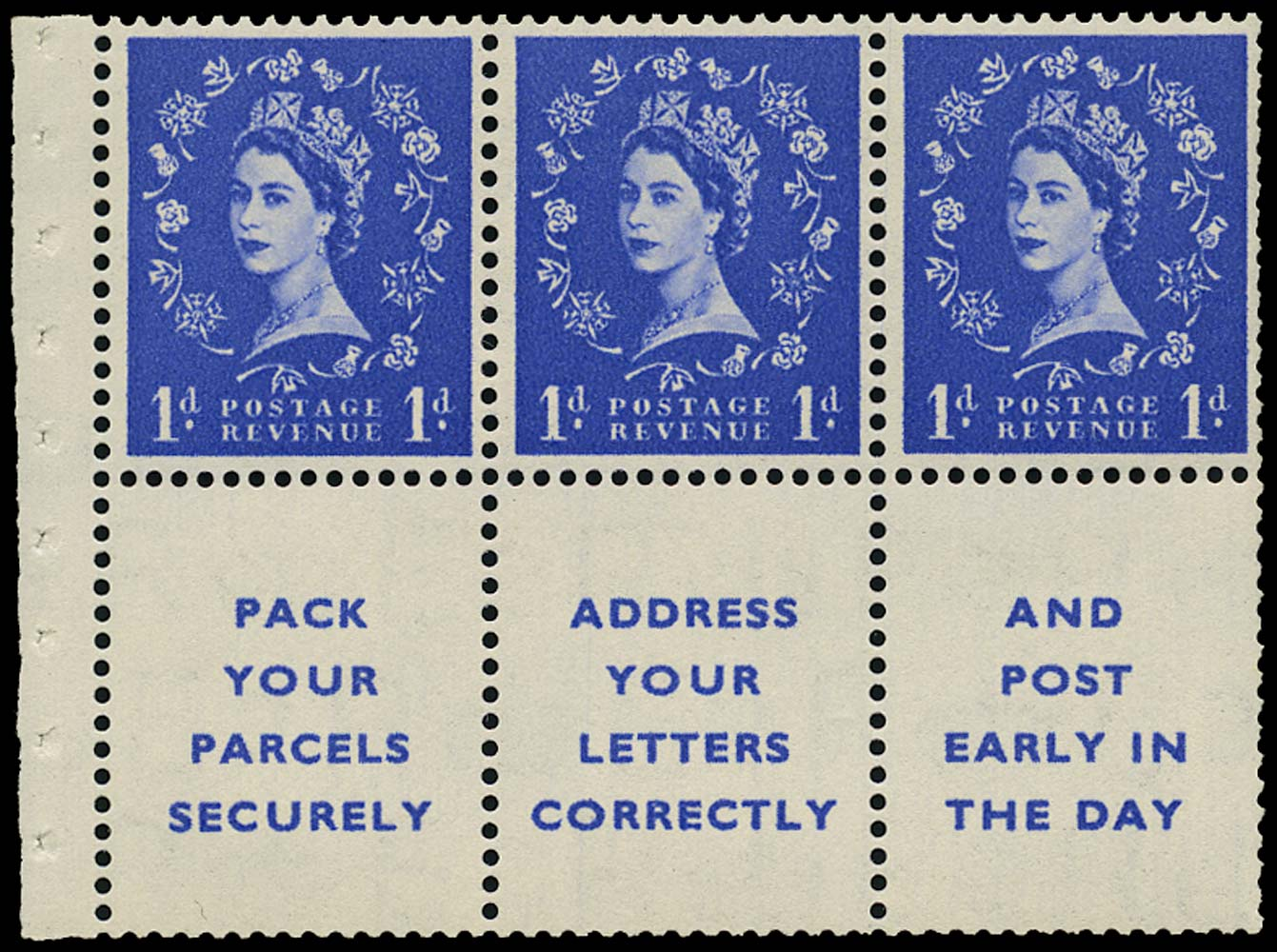 GB 1955  SG516la Booklet pane three labels