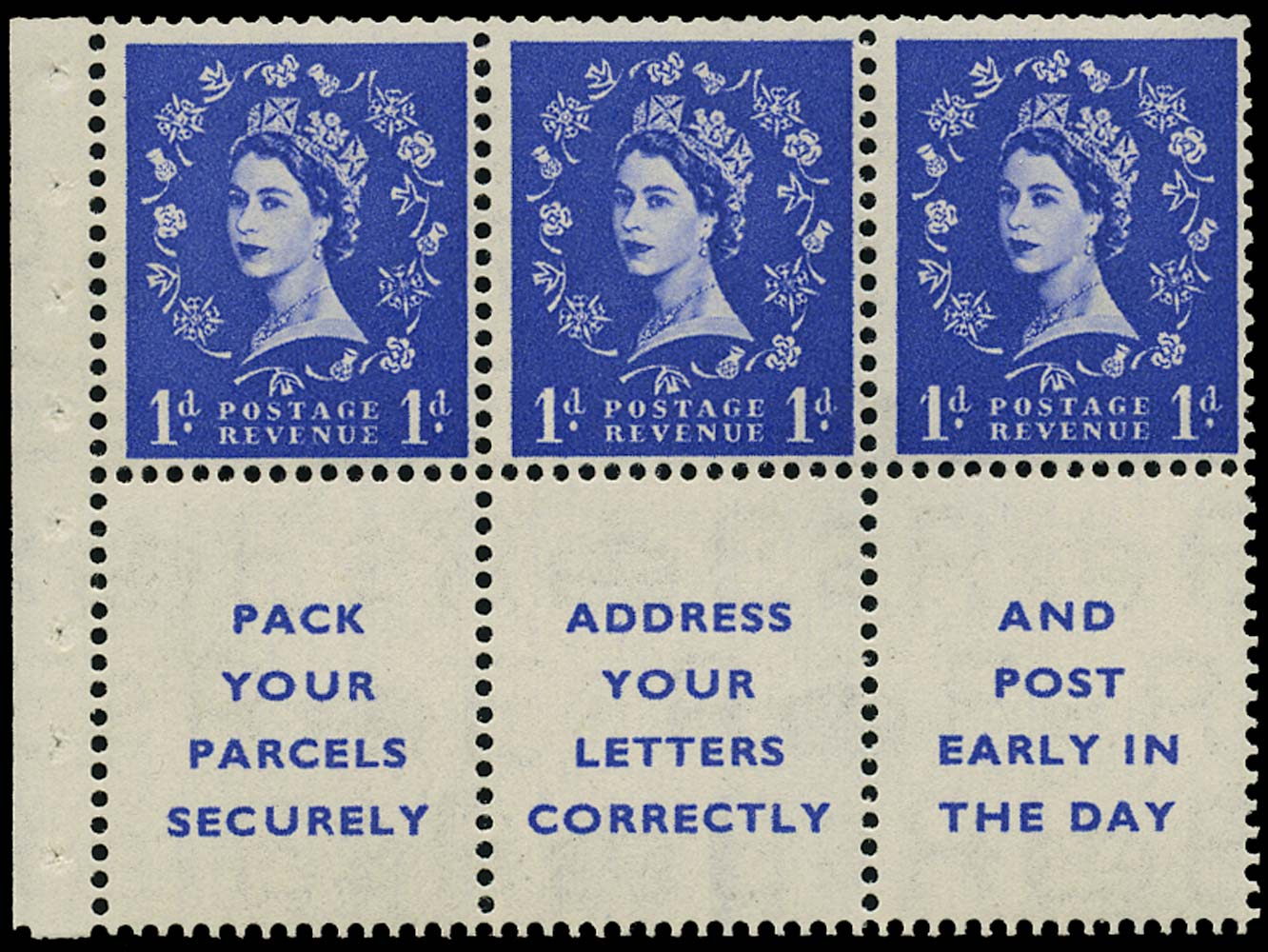 GB 1955  SG516la Booklet pane three labels, dot in serif variety