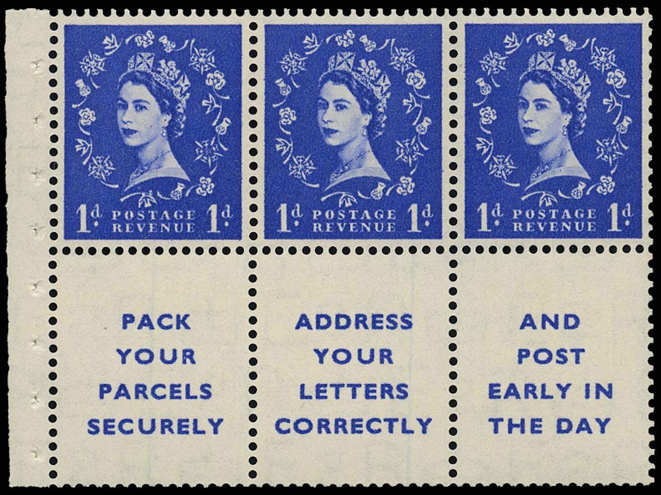 GB 1955  SG516la Booklet pane three labels, Daffodil flaw