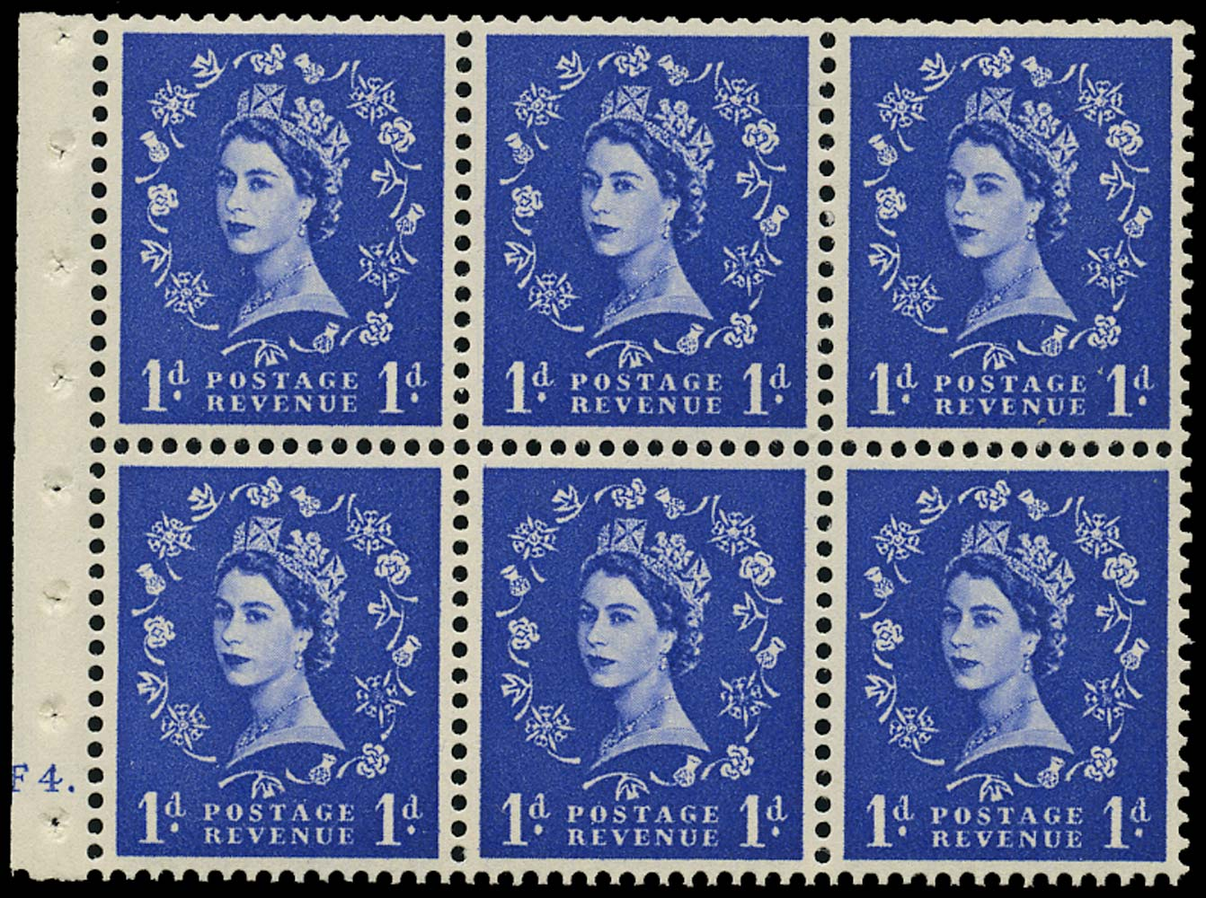 GB 1955  SG541l Booklet pane cylinder F4 dot, dot in serif