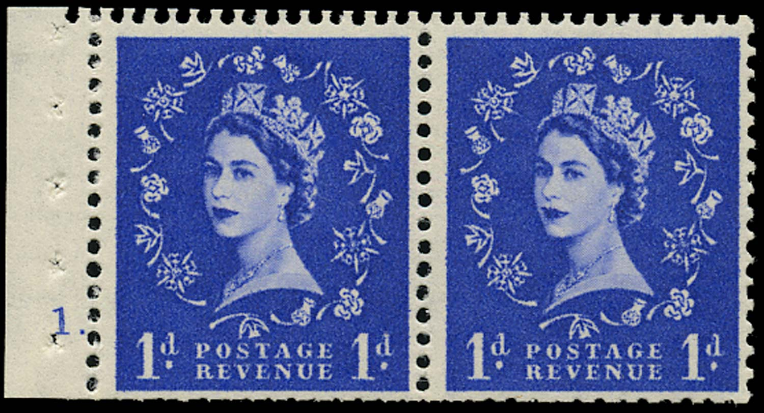 GB 1957  SG541n Booklet pane of two, cylinder 1 dot