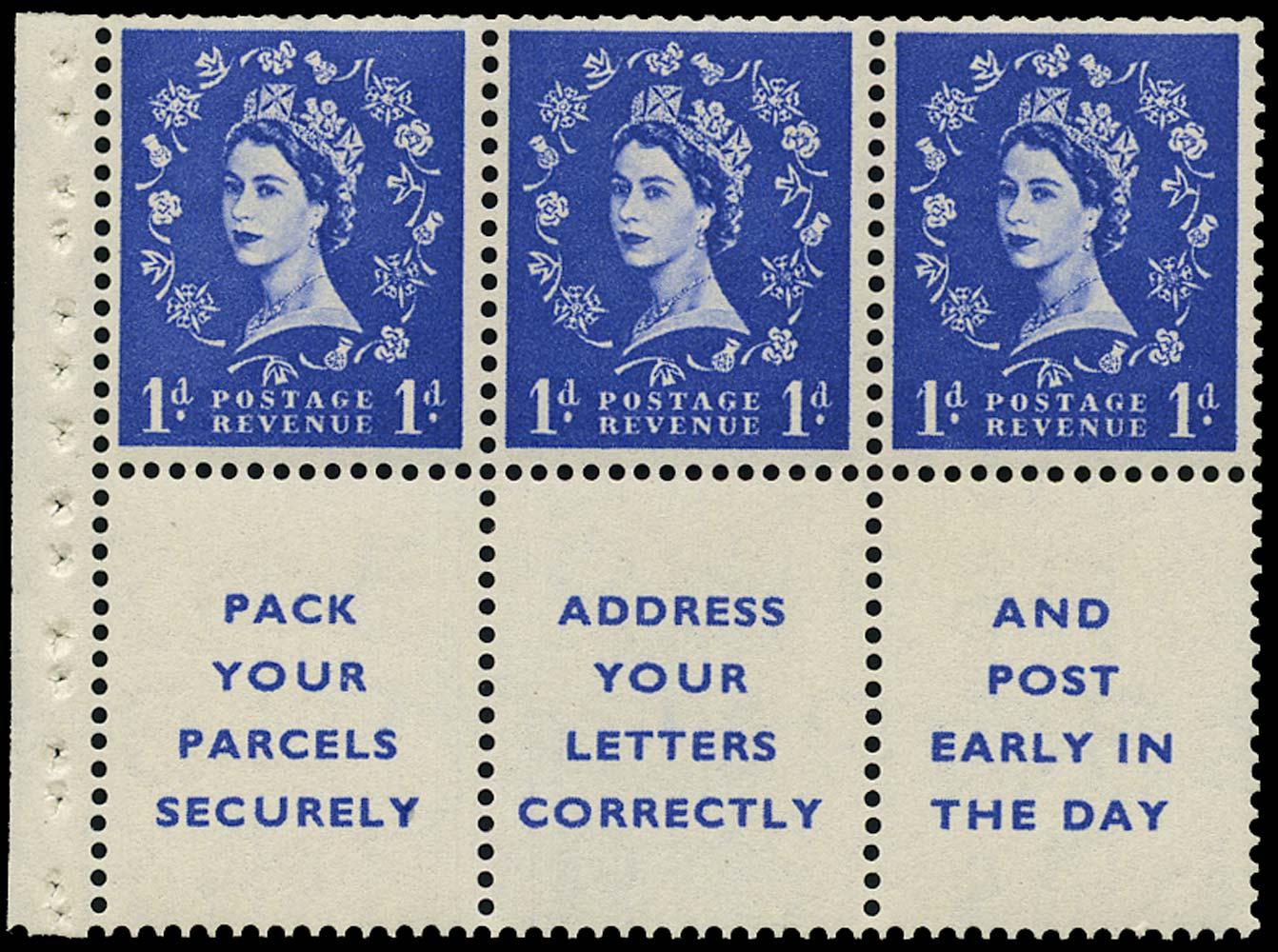 GB 1955  SG541la Booklet pane dot in serif variety