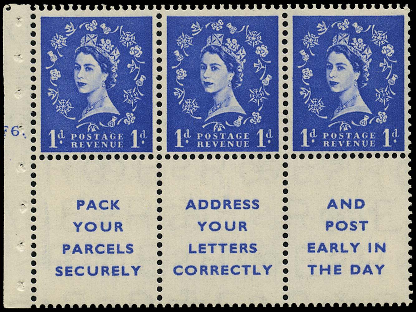 GB 1955  SG541la Booklet pane F6 dot cylinder pane