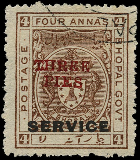 I.F.S. BHOPAL 1935  SGO324 Official THREE PIES on 4a chocolate