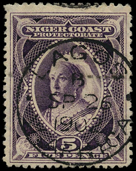 NIGER COAST 1897  SG70 Cancel 5d red-violet used in Lagos
