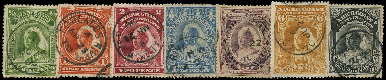 NIGER COAST 1897  SG55, 56a, 66b/71 Cancel QV selection used in Forcados
