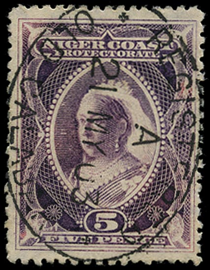 NIGER COAST 1897  SG70 Cancel 5d red-violet used in Old Calabar
