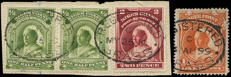 NIGER COAST 1897  SG66b, 67d, 68b Cancel ½d, 1d, 2d used in Brass