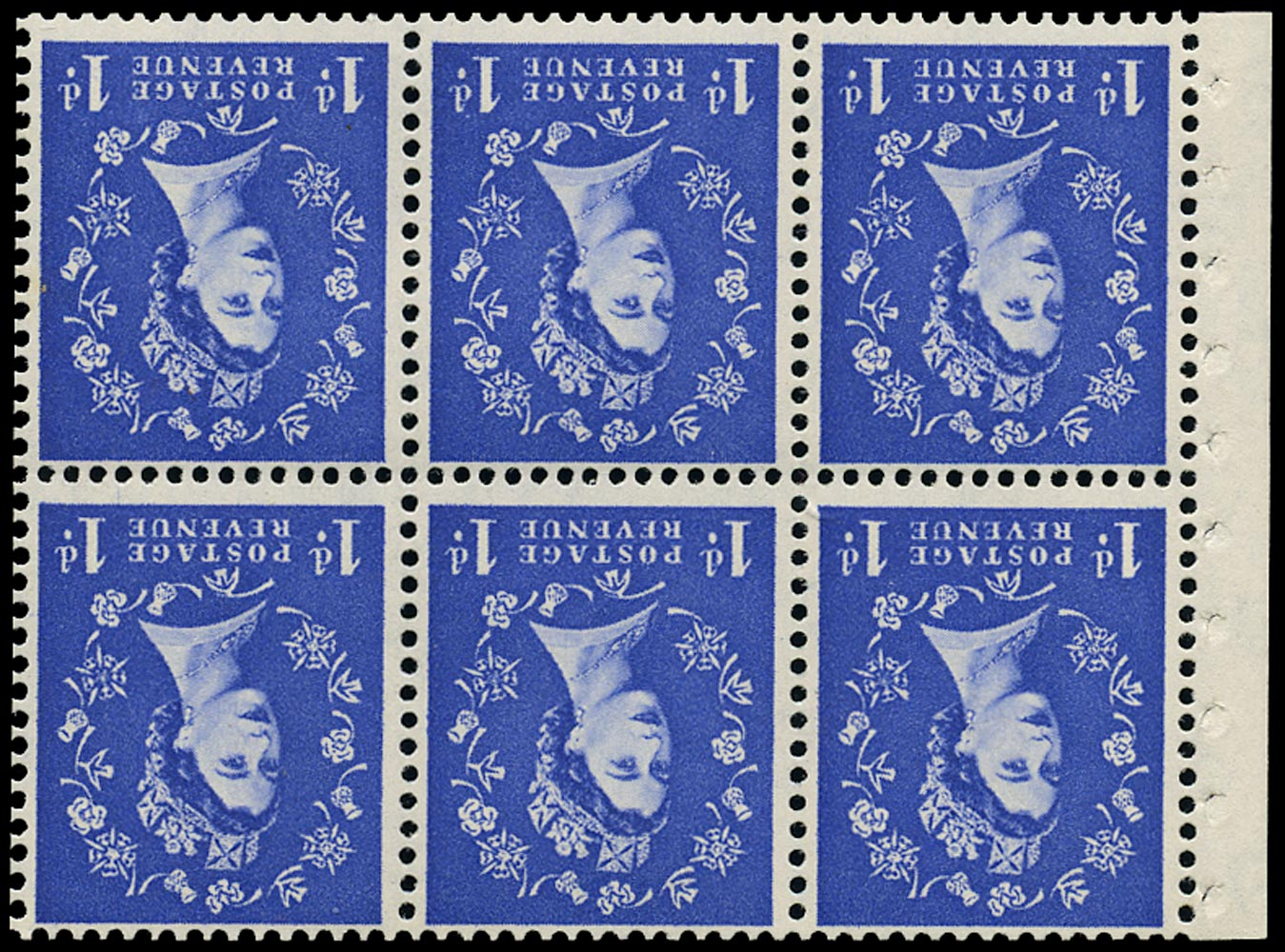 GB 1958  SG571l Booklet pane rose flaw variety