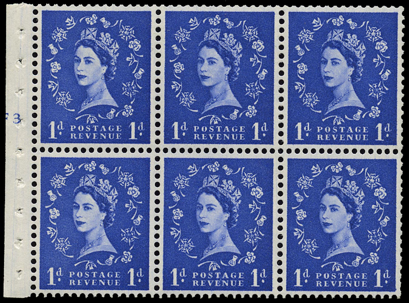 GB 1958  SG571l Booklet pane F3(T) no dot