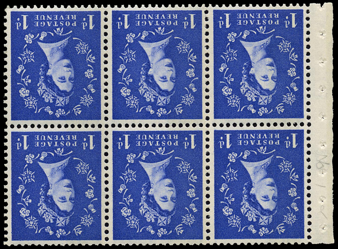 GB 1958  SG571lWi Booklet pane Wmk Inverted spot on D