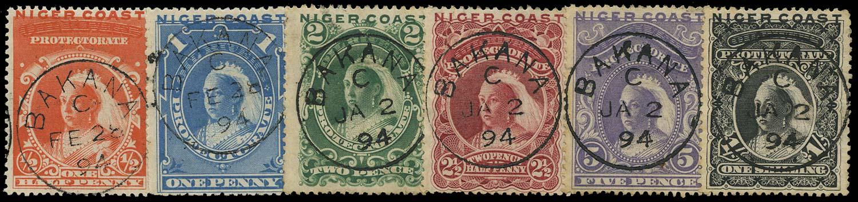 NIGER COAST 1894  SG45/50d Cancel set of 6 used in Bakana
