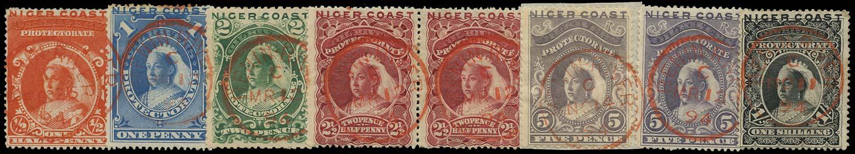 NIGER COAST 1894  SG45/50 Cancel set of 6 used in Benin River