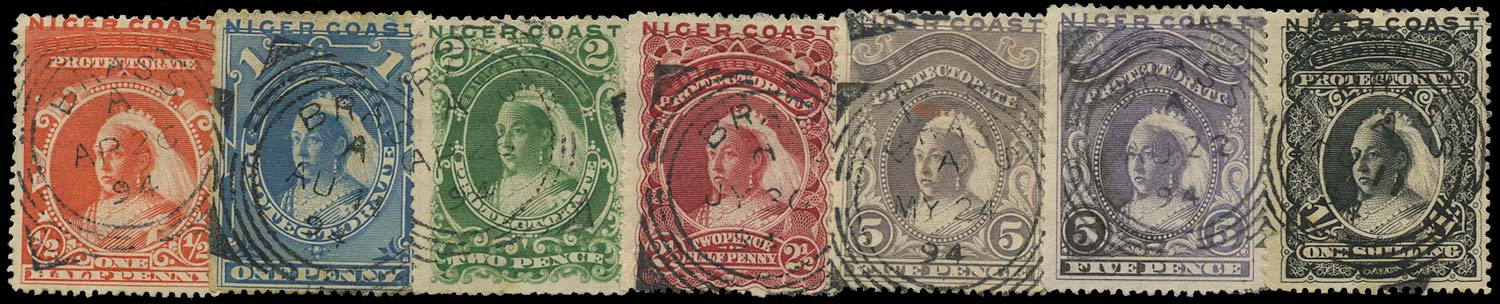 NIGER COAST 1894  SG45/50 Cancel set of 7 used in Brass