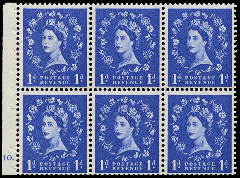 GB 1958  SG571l Booklet pane F10 dot, dot in serif