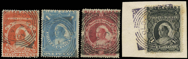 NIGER COAST 1894  SG45/50b btwn Cancel ½d, 1d, 2½d, 1s with Old Calabar squared circle