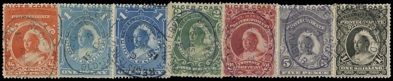 NIGER COAST 1894  SG45/50 Cancel set to 1s with Old Calabar registered ovals