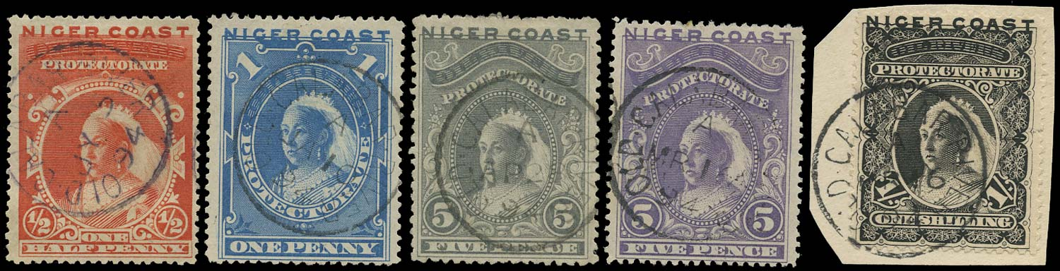 NIGER COAST 1894  SG45/50 btwn Cancel part set to 1s with Old Calabar River cds