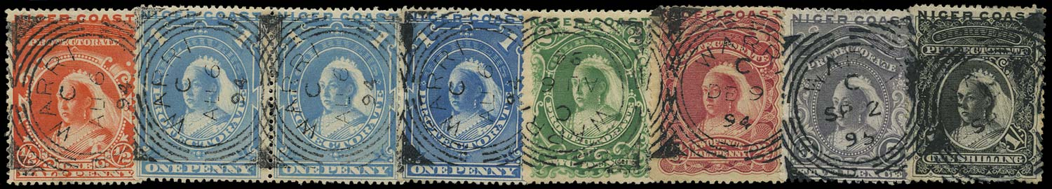 NIGER COAST 1894  SG45/50 Cancel set of 7 to 1s used with Warri squared circle