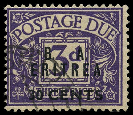 B.O.I.C. ERITREA 1950  SGED9w Postage Due
