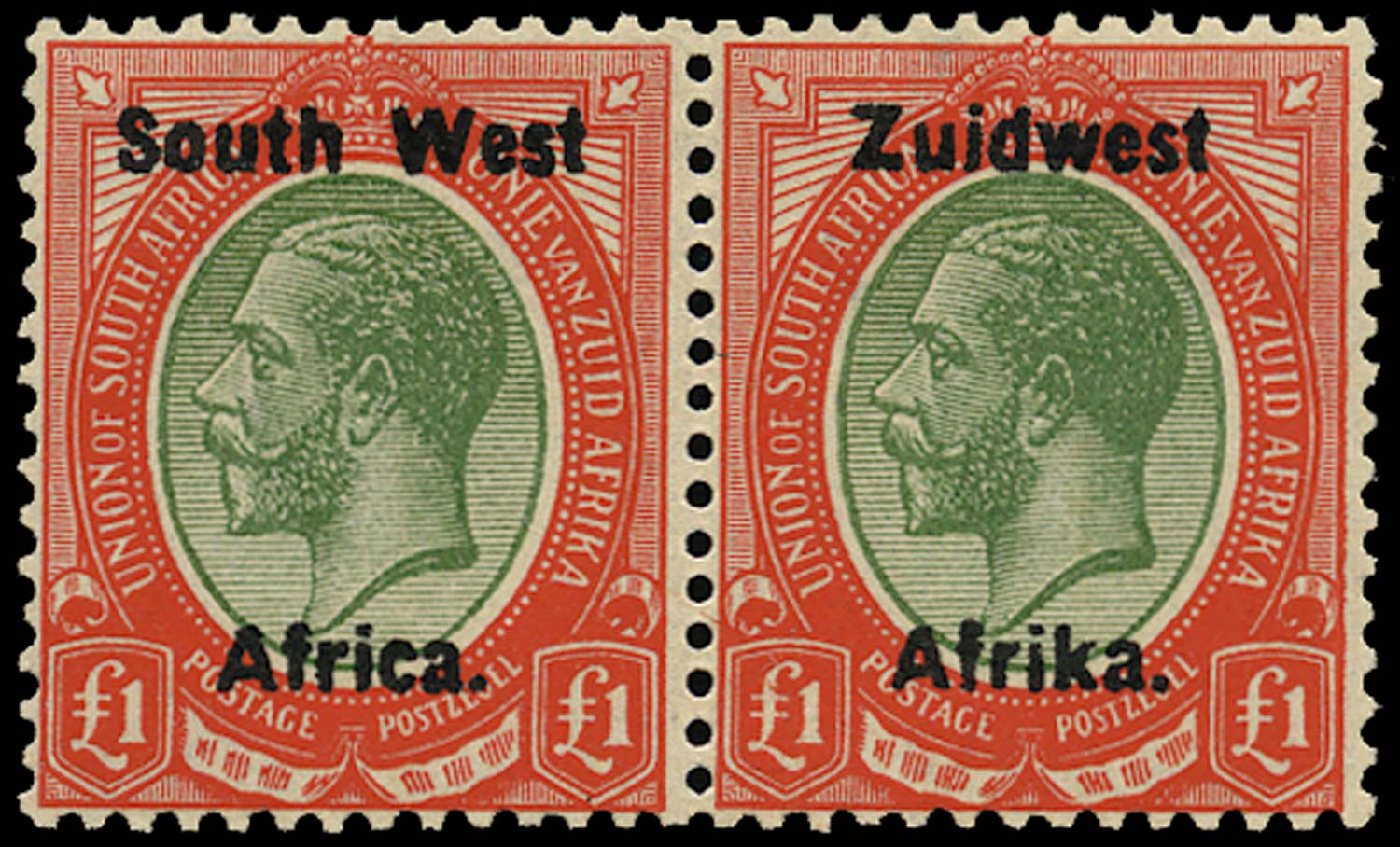 SOUTH WEST AFRICA 1923  SG27 Mint £1 green and red from overprint setting III
