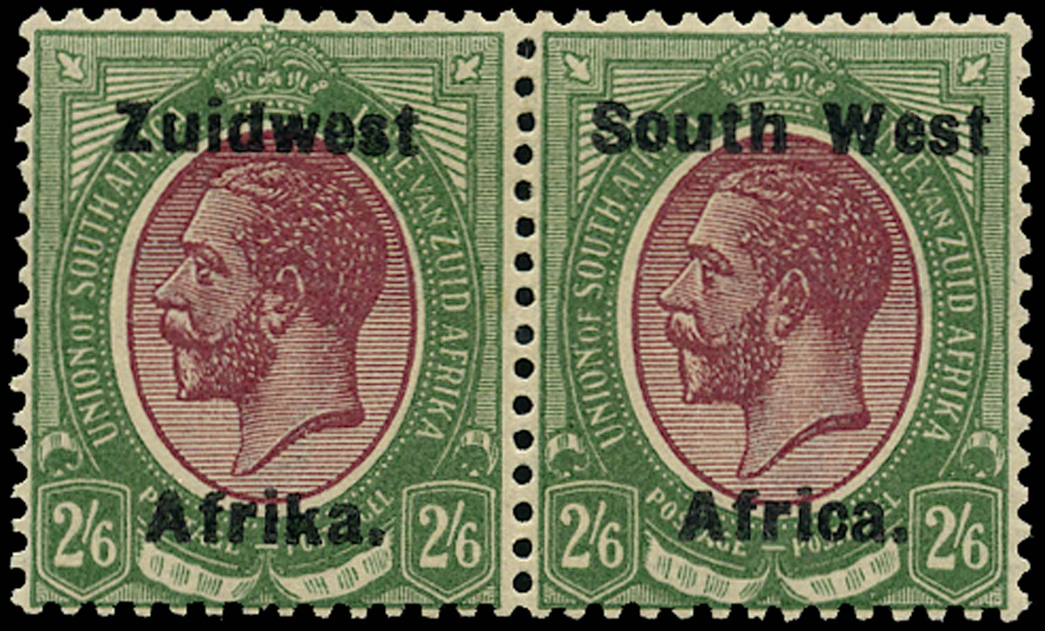 SOUTH WEST AFRICA 1923  SG28 Mint 2s6d purple and green from overprint setting IV