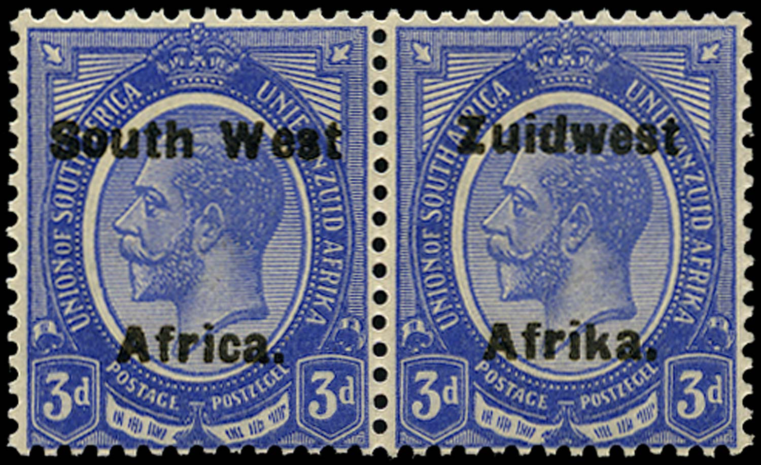 SOUTH WEST AFRICA 1923  SG32a Mint unmounted 3d deep bright blue from setting IV