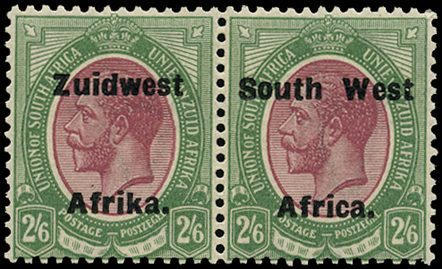 SOUTH WEST AFRICA 1923  SG37 Mint unmounted 2s6d purple and green from setting IV