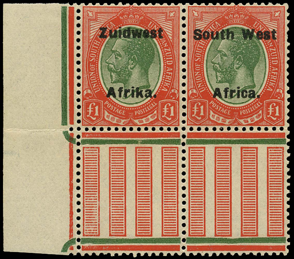 SOUTH WEST AFRICA 1923  SG40 Mint unmounted £1 green and red from overprint setting VI