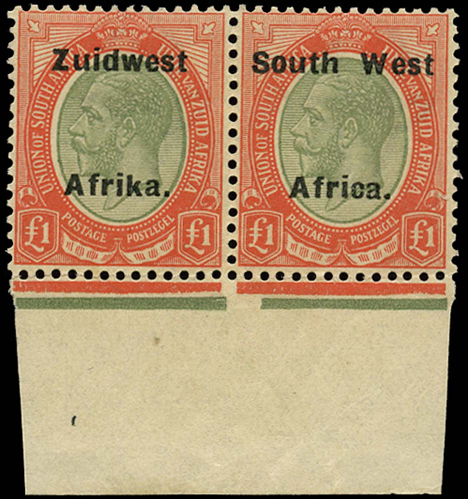 SOUTH WEST AFRICA 1923  SG40a Mint £1 pale olive-green and red from overprint setting VI