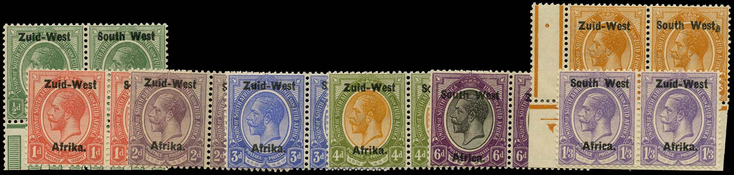 SOUTH WEST AFRICA 1923  SG1/8 Mint short set of 8 to 1s3d from overprint setting I