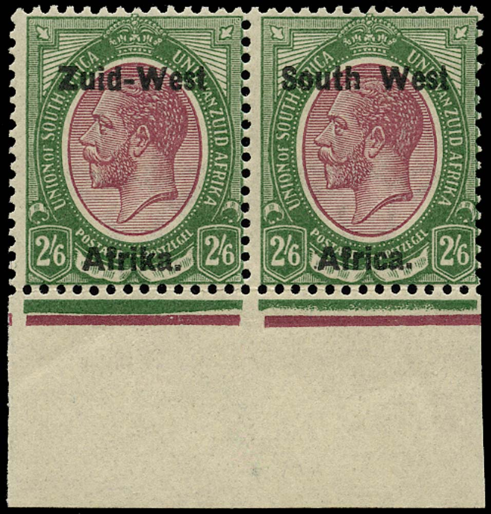 SOUTH WEST AFRICA 1923  SG9 Mint unmounted 2s6d purple and green overprint setting I