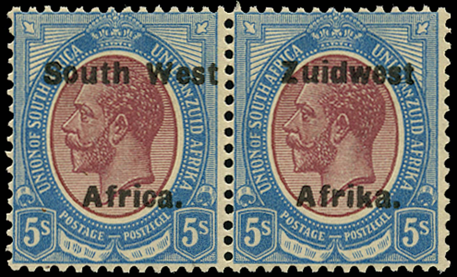 SOUTH WEST AFRICA 1923  SG38 Mint unmounted 5s purple and blue overprint setting VI