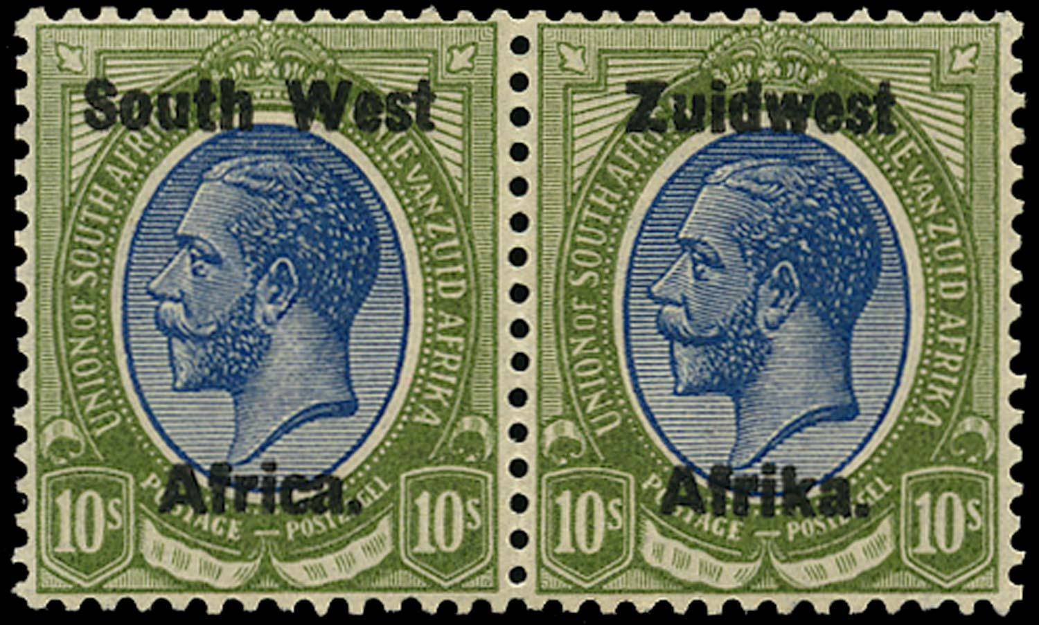 SOUTH WEST AFRICA 1923  SG26 Mint 10s blue and olive-green overprint setting III