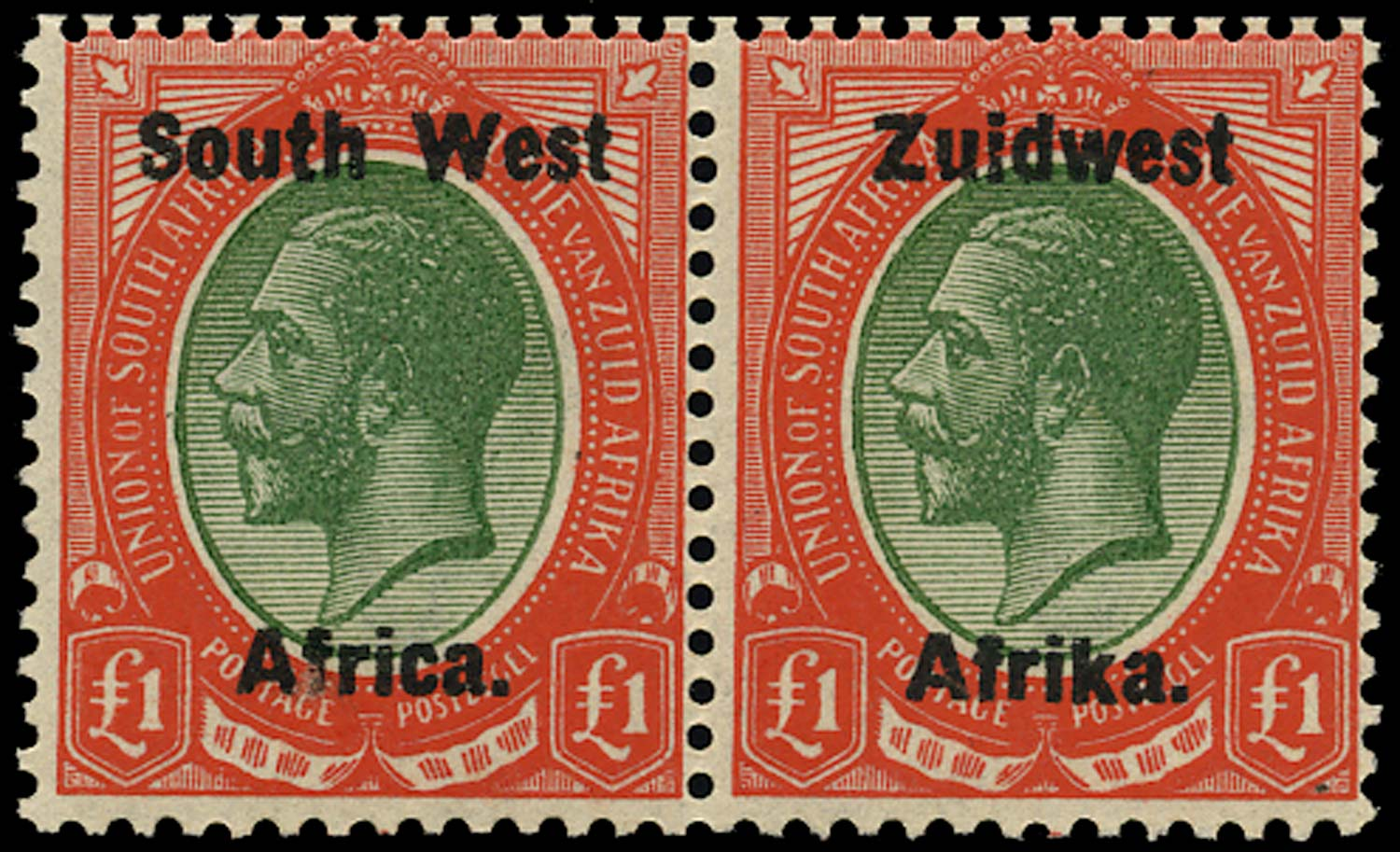 SOUTH WEST AFRICA 1923  SG27 Mint unmounted £1 green and red overprint setting III