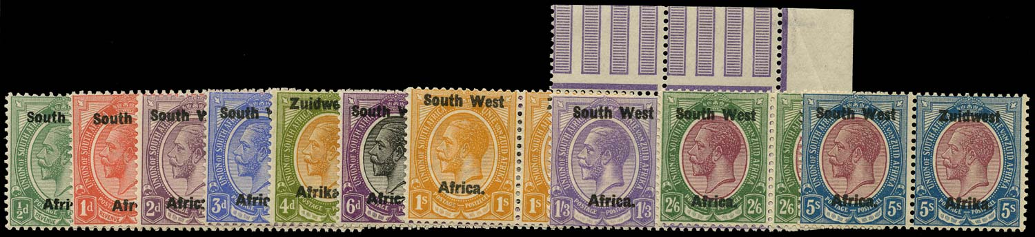 SOUTH WEST AFRICA 1923  SG16/25 Mint unmounted short set to 5s overprint setting III
