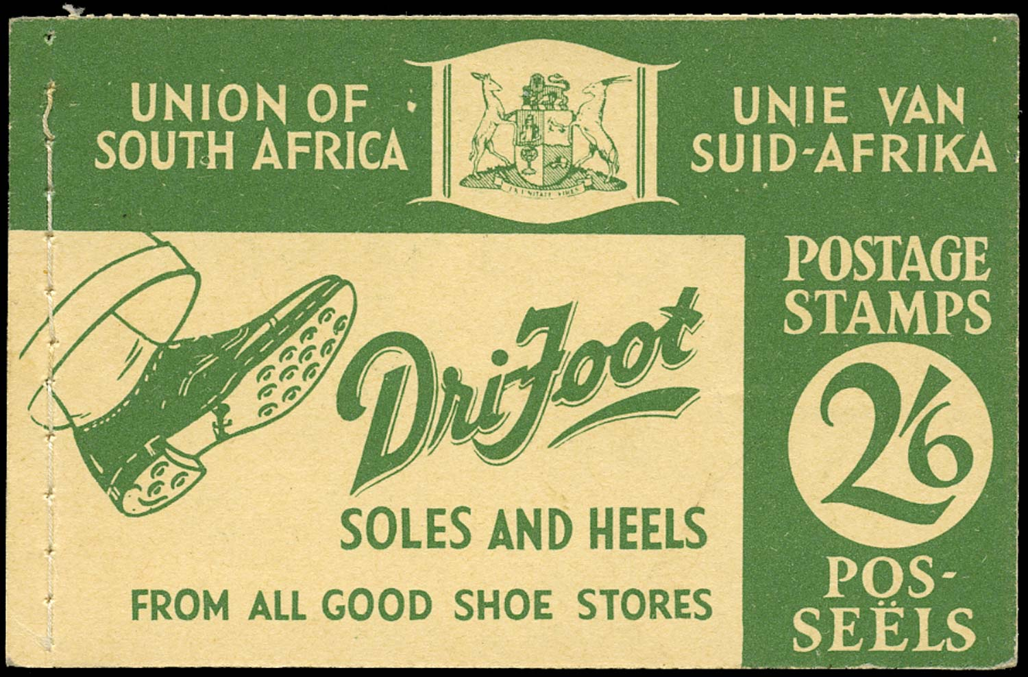 SOUTH AFRICA 1939  SGSB15 Booklet 2s6d green on buff 'Dri-Foot'