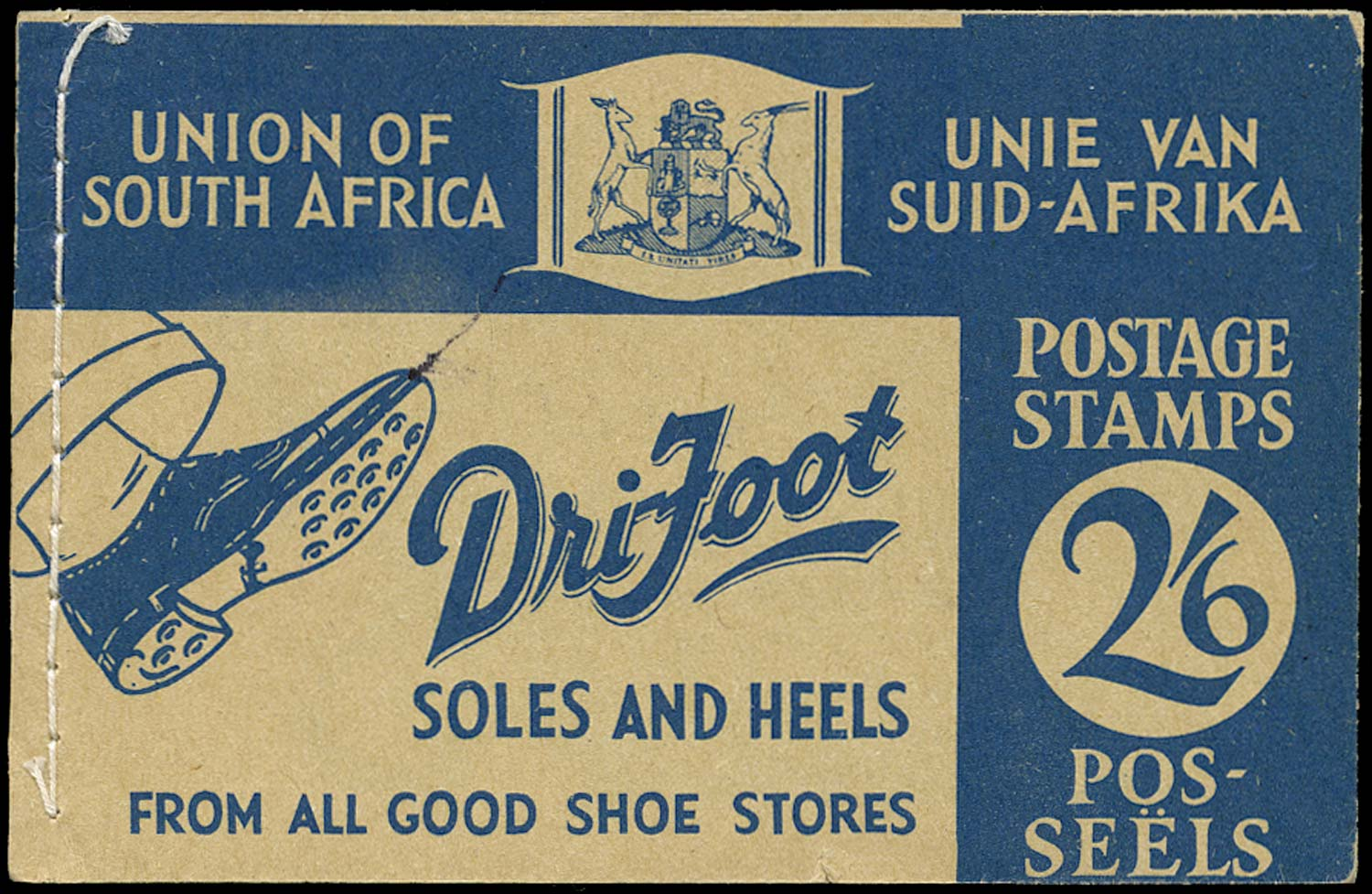 SOUTH AFRICA 1940  SGSB15a Booklet 2s6d blue on buff 'Dri-Foot'